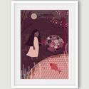 Gyerekszoba dekoráció, kislányszoba dekoráció -  meseillusztráció, Képzőművészet, Dekoráció, Illusztráció, Kép, Gyerekszoba dekoráció, kislányszoba dekoráció -  meseillusztráció aranyhallal, tóval A4 illusztráció..., Meska