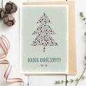 Karácsonyfás karácsonyi képeslap, adventi üdvözlőlap termésekkel, Karácsonyi, adventi apróságok, Ajándékkísérő, képeslap, Karácsonyi képeslap több színkompozícióban. Jellemző színek: rózsaszín alapon narancssárga, lila, ké..., Meska