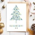 Karácsonyi képeslap, adventi üdvözlőlap karácsonyfa, fenyőfa termésekből - többféle szín, Karácsonyi, adventi apróságok, Ajándékkísérő, képeslap, Koszorú, Karácsonyi képeslap kék alapon kék és lila, fehér alapon zöld kompozíció és kék-bordó kompozíció. Ün..., Meska