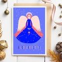 Kék angyal, karácsonyi képeslap, adventi üdvözlőlap , Karácsonyi, adventi apróságok, Ajándékkísérő, képeslap, Karácsonyi, adventi képeslap fehér, rózsaszín, kék színekben, hópelyhekkel. Karácsonyi üdvözlő szöve..., Meska