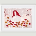 Gyerekszoba dekoráció, fali kép kislányoknak - Virágtündér - A4 illusztráció három színben, Gyerekszoba, babaszoba dekoráció, fali kép kisl...