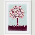 Színes fa illusztráció kétféle színben, Dekoráció, Képzőművészet, Kép, Illusztráció, A színes fát két színváltozatban is megveheted. Egyik jellemző színei: bordó, rózsaszín, halvány kék..., Meska