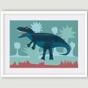Dino, dínó, dinoszaurusz, T.rex - gyerekszoba dekoráció állatos falikép, Dekoráció, Kép, A Dinoszauruszt, Tyrannosaurus rexet ábrázoló fali kép ideális dekoráció gyerekszoba falra. Kék-laza..., Meska