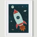 Rakéta, űrhajó az űrben Holddal, bolygókkal - gyerekszoba dekoráció, falikép, Dekoráció, Kép, A rakétát ábrázoló fali kép ideális dekoráció gyerekszoba falra. Jellemző színei a sötétkék, piros, ..., Meska