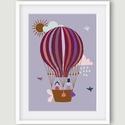 Léghajó - gyerekszoba dekoráció, falikép lila, bordó, rózsaszín, kék, barna, Dekoráció, Kép, A léghajót ábrázoló fali kép ideális dekoráció gyerekszoba, babaszoba falra. Jellemző színei a lila,..., Meska