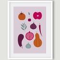 Konyhai dekoráció, kép, zöldségek és gyümölcsök -  alma, gránátalma, füge, padlizsán, zsálya, sütőtök, paprika, meggy, Dekoráció, Kép, A zöldségeket, gyümölcsöket ábrázoló kép konyha és étkező, de akár boltok és éttermek falán is jól m..., Meska