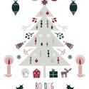 Karácsonyfás karácsonyi képeslap, adventi üdvözlőlap termésekkel, Karácsonyi, adventi apróságok, Ajándékkísérő, képeslap, Karácsonyi képeslap pasztel színekben, saját tervezésű, egyedi, magam illusztráltam. A skandináv egy..., Meska