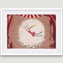 Gyerekszoba dekoráció, fali kép- cirkuszi kép porond, artistalánnyal, Dekoráció, Képzőművészet, Kép, Illusztráció, Gyerekszoba dekoráció, fali kép kislányoknak - az artistalány a cirkuszban- általam rajzolt, digitál..., Meska