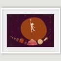 Lány csillaggal, Képzőművészet, Dekoráció, Illusztráció, Kép, A lány csillaggal varázslatos mese illusztrációja, a kislányról, akit apukája felemel, és így elér e..., Meska