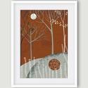Erdő holddal - kék, okker illusztráció, domb, erdő, fa, fali kép, rajz, szobadekoráció, Képzőművészet, Dekoráció, Illusztráció, Erdő holddal - kék, okker illusztráció, domb, erdő, fa, fali kép, szobadekoráció. A késztermék saját..., Meska