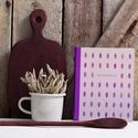 Receptkönyv, KIFUTÓ AKCIÓ - egyedi tervezésű, illusztrált, kemény borítós könyv zsályalevelekkel lila, szürke színek, Receptkönyv, receptfüzet - egyedi tervezésű, i...