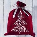 Ajándékcsomagoló zsák nagy, bordó pamutvászon, fenyőfa mintával a papírmentes karácsonyért,  zero waste, környezetbarát, Ajándékcsomagoló karácsonyi zsák, bordó pamu...