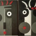 Love to love (Nonfiguratív festmény 2 részben / két pár) leírása, Dekoráció, Otthon, lakberendezés, Falikép, Kép, - 1 pár (2 darab festmény alkotás) - Vegyes technika - Vászon - 70X50X2 cm - 2018 Németh Rudolf..., Meska