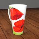 Virágos 4 dl-es cappuccino - s porcelán bögre pipacs festménnyel, Konyhafelszerelés, Otthon, lakberendezés, Bögre, csésze, Kerámia, Festészet, 4 dl-es teás, kávés, vagy cappuccino-s  virág, pipacs mintás porcelán bögrét kínálok eladásra. Nagy..., Meska