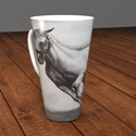 4 dl -es porcelán cappuccino -s bögre, ló festmény a bögrén , Képzőművészet, Konyhafelszerelés, Férfiaknak, Bögre, csésze, Kerámia, Festészet, Ló a képen!  4 dl-es teás,kávés, vagy cappuccino-s porcelán bögrét kínálok eladásra. Nagyon szép fo..., Meska
