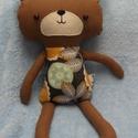 Maci figura, textil maci, Baba-mama-gyerek, Játék, Plüssállat, rongyjáték, Baba-és bábkészítés, Varrás, Maciimádók, figyelem! Igazán stílusos, csinos medve a láthatáron! Tejeskávé színű macika, gyönyörű ..., Meska
