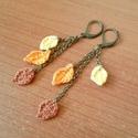 Őszi horgolt falevelek 2., Ékszer, Fülbevaló, Az ősz színeivel horgoltam meg ezeket a kis faleveleket, melyek 1-1,5 centisek.  A fülbevaló teljes ..., Meska
