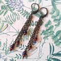Steampunk hangulatú fémes lilás fülbevaló, Ékszer, Fülbevaló, Ezt az igazi fémes hangulatú fülbevalót, bronz színű drótból készítettem. Lilás-kékes é..., Meska