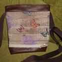 Textilbőr-vászon táska, Táska, Válltáska, oldaltáska, Textilbőrből és vastagabb vászonból készült táska. Heveder vállpánttal. Méretei: Száless..., Meska