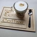 Fa gravírozott kávés tálca, Kávéfüggőknek :) 20x30 cm kávés tálca. (Lak...