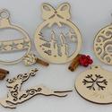 5 db karácsonyfadísz egy csomagban (3), 5 db karácsonyfadísz egyben egy csomagban natúr...