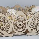 Húsvéti tojásmintás asztaldísz, Húsvéti asztaldísz/tojástartó 29 x 14 cm mér...