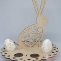 Nyuszis tojástartó/asztaldísz, Az alap átmérője 22 cm, a dísz magassága kb 2...
