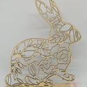 Nyuszis húsvéti asztaldísz, 17 x 20 cm-es talpas nyuszi asztaldísz natúr fá...