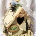 Ajándék vintage házikó - Zoe2012  kérésére, Otthon, lakberendezés, Dekoráció, Esküvő, Nászajándék, VINTAGE AJÁNDÉK HÁZIKÓ esküvőre   Az ajándék  környezetbarát festékkel felületkezelt. Örökzöldekkel,..., Meska
