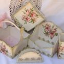 Rózsaszín rózsás, bézs színű  fa készlet romantikusok hölgyeknek, Dekoráció, Esküvő, Ünnepi dekoráció, Húsvéti apróságok, Rózsaszín rózsás, bézs színű  fa készlet romantikus hölgyek részére - fa kosár ívelt füllel  - fa pa..., Meska