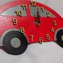 Gyermek falióra, Ékszer, óra, Dekoráció, Otthon, lakberendezés, Falióra, Festészet, Mindenmás, Egyedi formájú és festésű falióra gyerekszobába Autó alakú, piros-szürke-sárga színű falióra, néma ..., Meska
