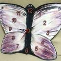 Pillangó falióra, Ékszer, Otthon, lakberendezés, Falióra, óra, Fa alapanyagra készített pillangó falióra, strasszal, csillámmal díszítve, néma óraszerkezettel. Gyö..., Meska