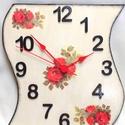 Piros rózsás falióra, Dekoráció, Ékszer, Otthon, lakberendezés, Falióra, óra, Festészet, Decoupage, transzfer és szalvétatechnika, Egyedi formájú, festésű falióra, ami fa alapra készült. Akrilfestékkel festett, és fedőréteggel kez..., Meska