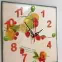 Konyhai citrom-eper falióra, Ékszer, Otthon, lakberendezés, Falióra, óra, Fa alapanyagra festett konyhai falióra, néma szerkezettel és dekorkaviccsal díszítve. A minták..., Meska