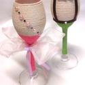 Esküvői pálinkás-likőrös pohár szett, Esküvő, Dekoráció, Nászajándék, Esküvői pezsgős pohár szett az ifjú párnak! Zsinórozott technikával készült, ami egyedi elképzelés a..., Meska