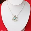Ezüst filigrán félgömb nyaklánc angelittel, Ékszer, Nyaklánc, Medál, Ez a félgömbbé domborított virág formájú ezüst medál egy 8 mm-es angelit (vagy angyalkő) természetes..., Meska