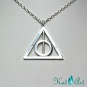 Harry Potter Halál Ereklyéi ezüst medál, Ékszer, Medál, Megrendelésre készítettem ezt a HP medált, 3*3 cm-es egyenlő szárú háromszög alapon. A karika - mint..., Meska