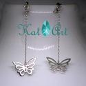 Pillangós 925 ezüst fülbevaló patentzárral, Ékszer, Fülbevaló, A pillangók repülnek az arcunk mellett, ahogy a láncok végén fityegnek.  A fülbevalók 925 Ste..., Meska