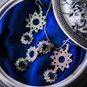 Kék swarovskis ezüst ékszerszett, Ékszer, Ékszerszett, Fülbevaló, Nyaklánc, A szett tartalma egy pár fülbevaló és egy nyaklánc. A fülbevaló mérete kb 5 cm, a medál mé..., Meska