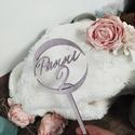 Egyedi torta dísz,  névre szóló torta dekor beszúró, 9*18 cm-es 4 mm vastag rétegelt lemezből lézer ...