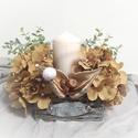 Hortenzia asztali dekoráció őszi, 15*15 vessző alapon, hortenzia és gyertya üvegb...