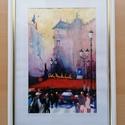 Úton a piacra, Otthon & lakás, Képzőművészet, Festmény, Akvarell, Lakberendezés, Falikép, Festészet, Akvarell festmény. A kép mérete 15×23 cm, kerettel 23×32 cm. Fehér, üvegezett, fa keretben postázom., Meska