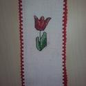 Keresztszemes hímzéssel készült tulipános  könyvjelző, Dekoráció, Mindenmás, Otthon, lakberendezés, Gobelin, Hímzés, Kedves ajándék Anyák napjára a virágcsokor mellé ez a keresztszemes hímzéssel készült, tulipános kö..., Meska