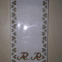Monogramos könyvjelző, Képzőművészet, Textil, Keresztszemes hímzéssel készült monogramos könyvjelző. Rendelhető betűk, választható betű..., Meska