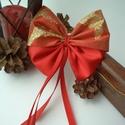 Karácsonyfára csíptetős szatén masni, arany, Dekoráció, Ünnepi dekoráció, Karácsonyi, adventi apróságok, Karácsonyfadísz, Szaténból és csillámos szalagból készültek ezek a dús kis masnik, amelyek tökéletesen ille..., Meska