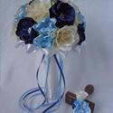 Clarissa menyasszonyi csokor rózsával és fantázia virágokkal, vőlegénykitűzővel - kék, Esküvő, Esküvői csokor, Szaténból, aprólékos munkával készített virágokból építettem fel ezt a kék színvilágú..., Meska