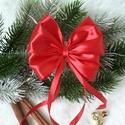 Karácsonyfára csíptetős szatén masni, piros, Dekoráció, Karácsonyi, adventi apróságok, Karácsonyfadísz, Szaténból és csillámos szalagból készültek ezek a dús kis masnik, amelyek tökéletesen ille..., Meska