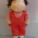 Pisti- Waldorf jellegű fiú baba, Természetes alapanyagokból készült kb. 38 cm m...