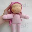 Minimanó- rózsaszín, Baba-mama-gyerek, Játék, Baba, babaház, Baba játék, Vidám, puha plüssből készült saját tervezésű manócska kicsiknek. Kb. 22 cm magas, sapival együtt 45 ..., Meska