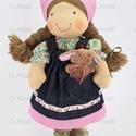 Nyuszis baba- farmerruhás, Játék, Baba-mama-gyerek, Baba, babaház, Természetes alapanyagokból készült kb. 40 cm magas Waldorf jellegű baba. Lába térdnél át van varrva,..., Meska
